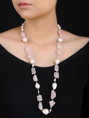 Rose Quartz and Baroque Pearl Silver Necklace