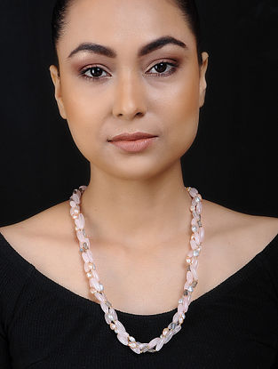 Rose Quartz and Pearl Silver Necklace