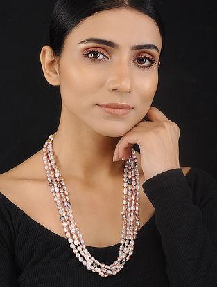 Pink Grey Baroque Pearl Beaded Silver Necklace