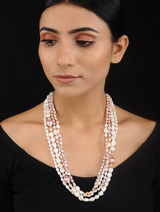 Pink White Baroque Pearl Beaded Silver Necklace
