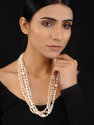 Peach White Baroque Pearl Beaded Silver Necklace