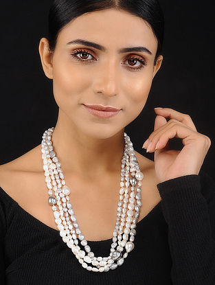 Grey White Baroque Pearl Beaded Silver Necklace