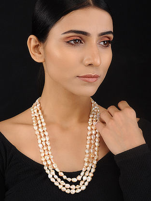 Peach Baroque Pearl Beaded Silver Necklace
