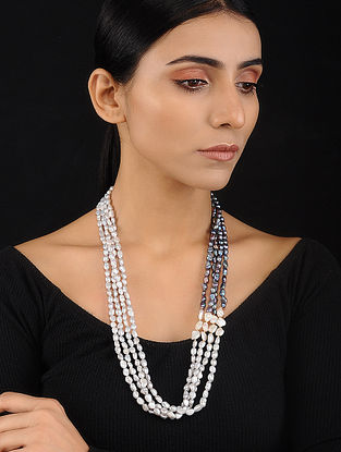 Black Grey Baroque Pearl Beaded Silver Necklace