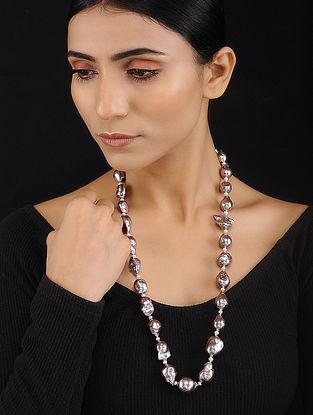 Grey Baroque Pearl Beaded Silver Necklace