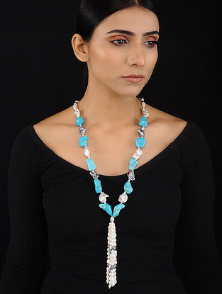 Turquoise and Baroque Pearl Beaded Silver Necklace