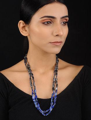 Labradorite and Lapis Lazuli Beaded Silver Necklace