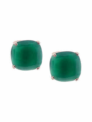 Green Onyx Silver Stud Earrings