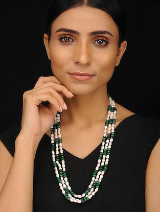 Green Onyx and Pearl Beaded Silver Necklace