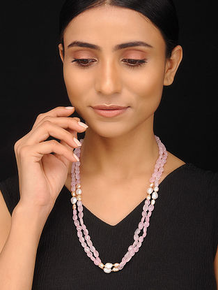 Rose Quartz and Pearl Beaded Silver Necklace