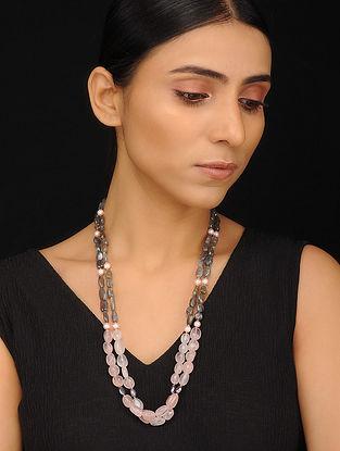 Rose Quartz, Labradorite and Pearl Beaded Silver Necklace