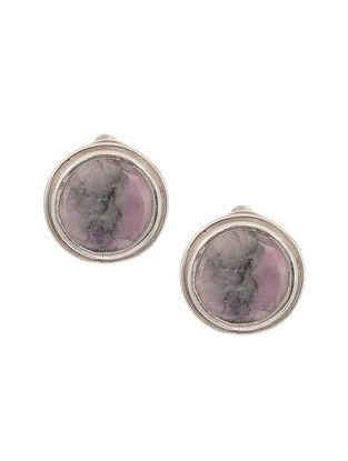 Pink Moss Silver Stud Earrings