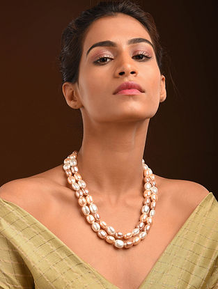 Pearl Beaded Silver Necklace