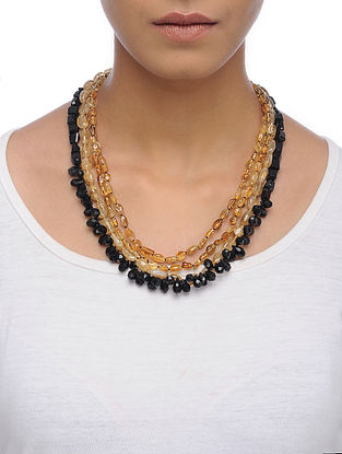 Black Spinel and Topaz Beaded Silver Necklace