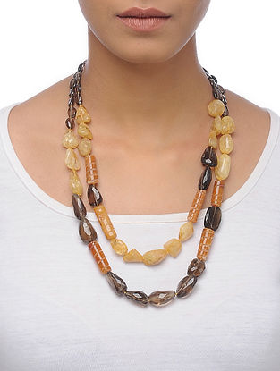 Smoky Topaz and Sandstone Beaded Silver Necklace