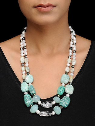 Amazonite and Calci Silver Necklace with Fresh Water Pearls