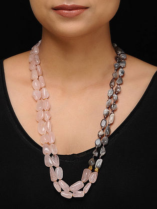 Rose Quartz and Labradorite Beaded Silver Necklace