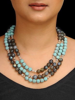 Labradorite and Turquoise Beaded Silver Necklace
