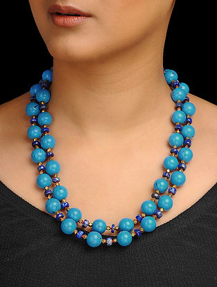 Turquoise and Lapis Lazuli Beaded Silver Necklace