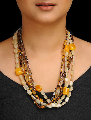 Tigers Eye and Citrine Beaded Silver Necklace