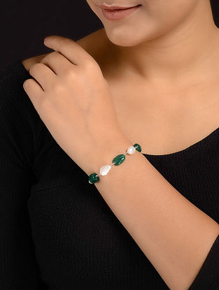 Green Onyx and Pearl Beaded Silver Bracelet