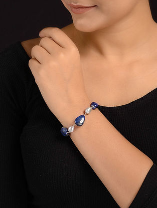 Lapis Lazuli and Baroque Pearl Beaded Silver Bracelet