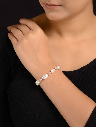 Baroque Pearl Beaded Silver Bracelet