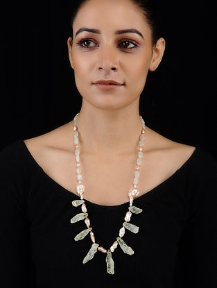 Green Amethyst and Baroque Pearl Beaded Necklace