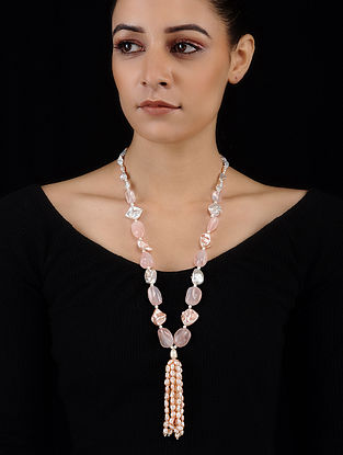 Baroque Pearl and Rose Quartz Beaded Necklace
