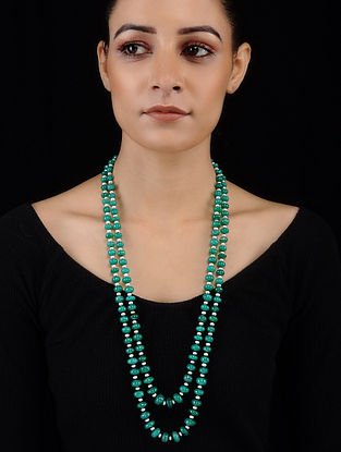 Green Onyx and Fresh Water Pearl Beaded Necklace