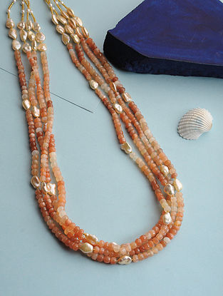 Moonstone and Baroque Pearl Beaded Necklace