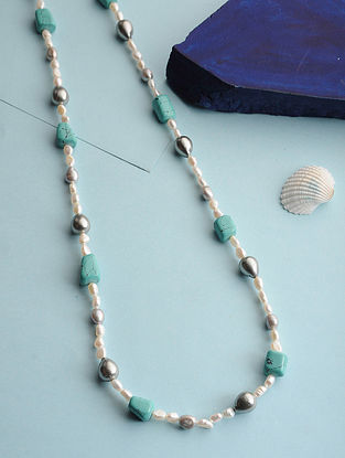 Turquoise and Pearl Beaded Necklace