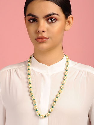 Baroque Pearl and Green Onyx Beaded Necklace