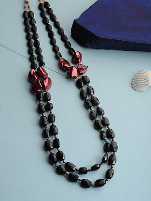 Black Spinel and Baroque Pearl Silver Necklace