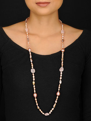 Rose Quartz and Baroque Pearl Beaded Necklace
