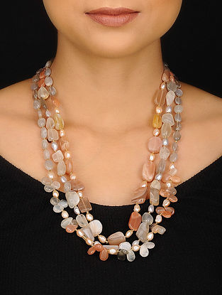 Moonstone and Pearl Beaded Necklace
