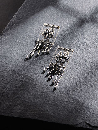 Tribal Silver Earrings with Freshwater Pearls