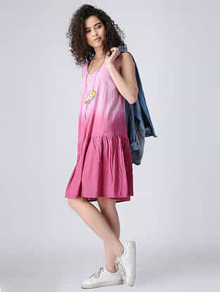 Pink Ombre Cotton Dress with Gathers