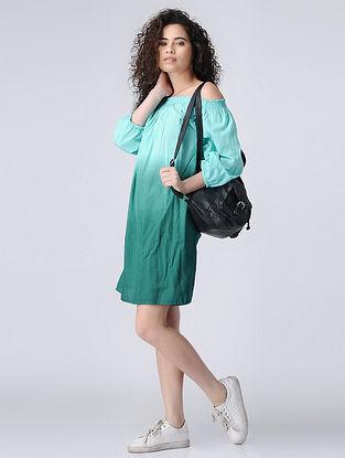 Blue Ombre Off-shoulder Cotton Dress with Smocking