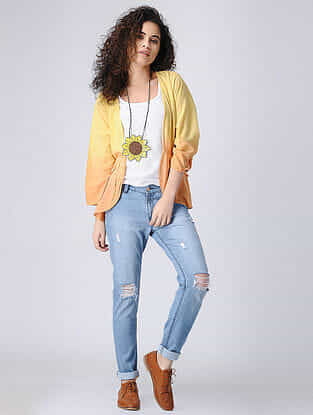 Yellow Ombre Cotton Shrug with Gathers