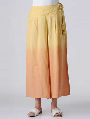 Yellow Tie-up Waist Embroidered Ombre Cotton Palazzos with Tassels