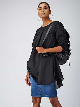Black Cotton Dobby Tunic