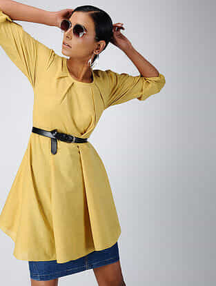 Yellow Cotton Dobby Tunic