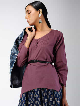 Purple Cotton Dobby Top with Pintucks