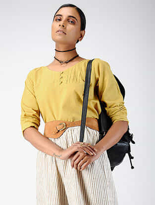 Yellow Cotton Dobby Top with Pintucks
