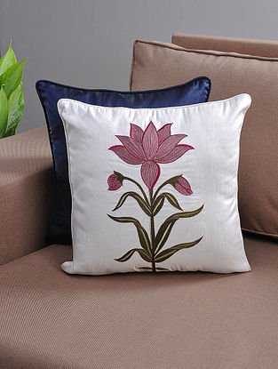 White-Pink Resham-Embroidered Cushion Cover with Cotton Lining