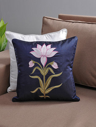 Navy-Pink Resham-Embroidered Cushion Cover with Cotton Lining