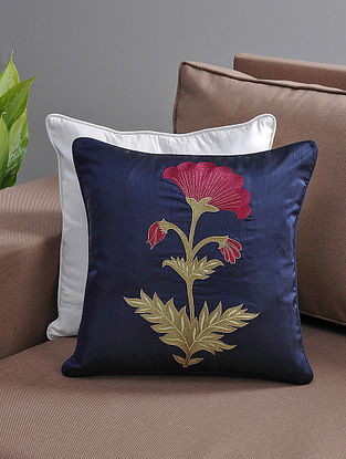 Navy-Maroon Resham-Embroidered Cushion Cover with Cotton Lining