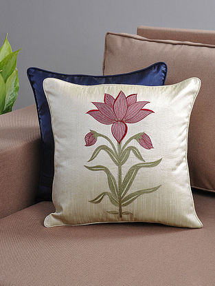 Ivory-Pink Resham-Embroidered Cushion Cover with Cotton Lining