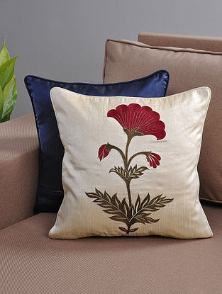 Ivory-Maroon Resham-Embroidered Cushion Cover with Cotton Lining